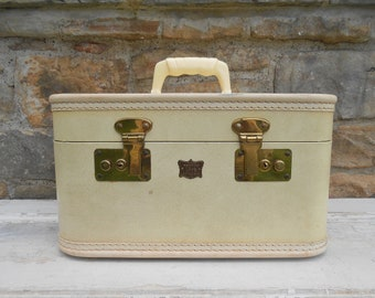 Vintage Train Case Suitcase Luggage Off White Cream Town of Lake by New City Wedding Card Holder Hard Sided Travel Traincase Smaller Size
