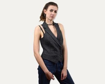 Vintage womens vest, tweed west, simple fitted waistcoat elegant vest, formal vest, gray classic vest, small size, minimalist clothing