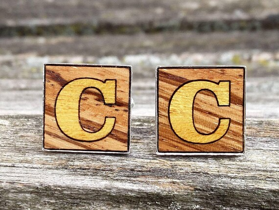 Monogram Cufflinks. CHOOSE Your Wood & Letters. Laser Engraved. Wedding, Men's, Groomsmen, Dad.