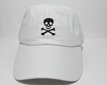 Skull n Bones Embroidered Unstructured 100% Cotton Polo Adjustable Baseball cap dad hat