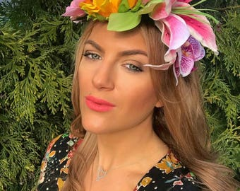 Tropical Sunrise Sunflower Lily Orchid Flower Crown Hair Head Band