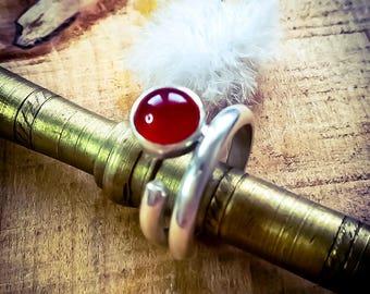 Sterling Silver Carnelian ring / Carnelian Statement ring / Silver Carnelian ring/ Handmade Carnelian ring