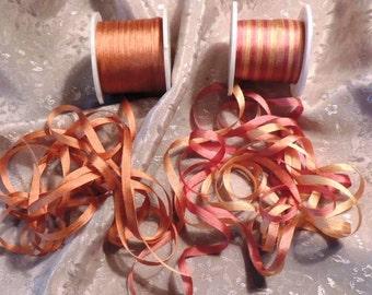 4mm Rose Gold combo  6 yards silk ribbon