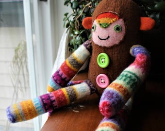 Manky - wool handmade stuffed toy from recycled sweater