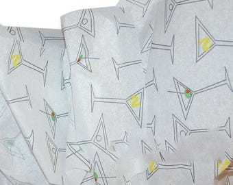 MARTINI GLASSES  , Tissue Paper, Large sheets, 20 x 30 inches. Drinks, Tissue Paper