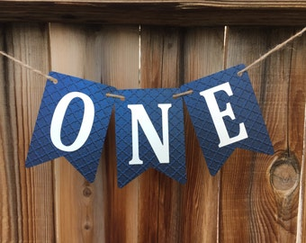 Blue ONE High Chair banner, 1st Birthday, blue birthday high chair, blue birthday
