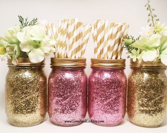 Bridal Shower Decorations, Wedding Centerpiece, Baby Shower Centerpiece, Gold Wedding Decor, Pink and Gold Decor, Birthday Party, Set of 4