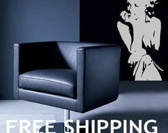 Marilyn Monroe Sitting Flirt  Wall Decor I Vinyl Wall Sticker  --Free Shipping--