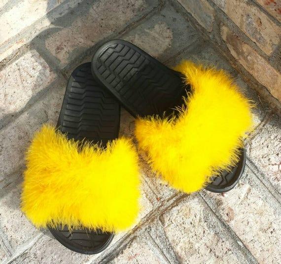 yellow fur slides custom furry slides yellow fuzzy slides