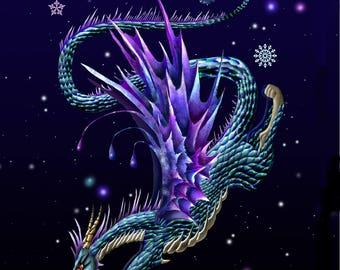 Ice Dragon. dragon. dragon print. dragon art print.dragon wall art. dragon decor. 16x20 unframed