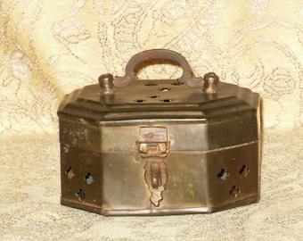 Brass Cricket Trinket Ring Box Cage Octagonal Pierced Vintage India
