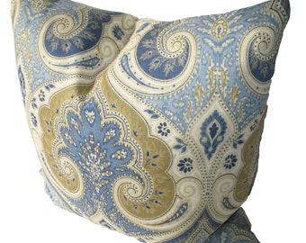 Decorative Designer Kravet Latika Paisley, Ikat,  Blue, Tan,  18x18, 20x20, 22x22 or Lumbar, Both Sides, Throw Pillow