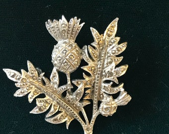 Marcasite Scottish thistle flower vintage brooch