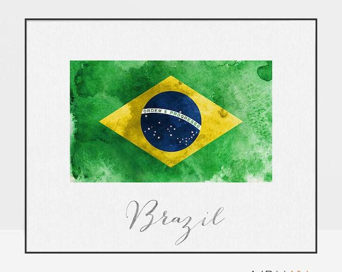 Brazil flag print, Brazil flag art poster, Wall art, watercolor flag, office decor, Home Decor Gift, Travel Decor, ArtPrintsVicky