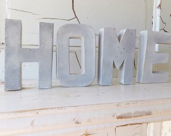 """HOME Faux Concrete Paper Mache Letters ~ Set of 4 Letters ~ Home Decor ~ Free Standing ~ 4"""" Tall"""