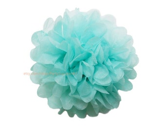 Blue Tissue Paper Pom Poms * 1 Large 14 inch Tissue Paper Flowers For Wedding Nursery Shower Party Decoration