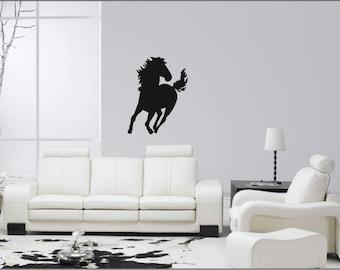 Running Horse Wall Sticker,  Wall Vinyl, Art Decor Home Stickers, Removable Diy Vinyl, Graphics Tattoos, Equestrian Decor, Wild Horses, 1191