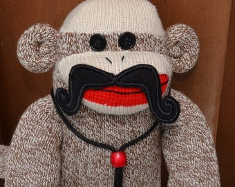 Sock Monkey with choice of Mustaches. Sock Monkey Stache, Movember Sock Monkey