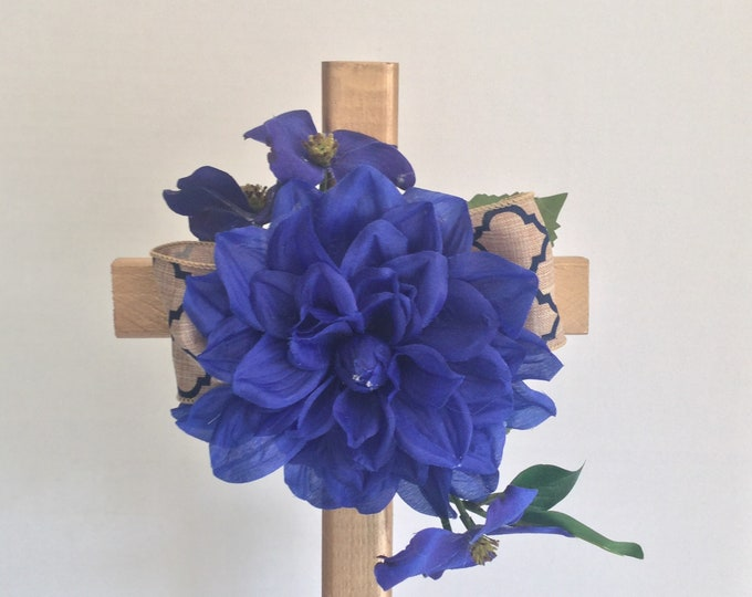 Cemetery cross, royal blue and gold grave decoration, memorial cross, Floral Memorial, grave marker, cemetery flowers, memorial flowers