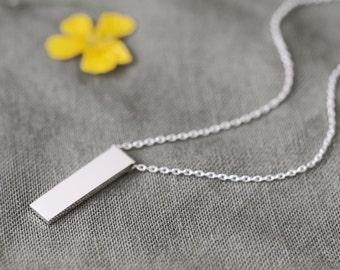 Minimal Bar Necklace 925 Sterling Silver Minimalist Jewelry