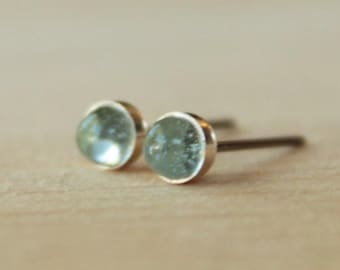 Sky Blue Topaz Gemstone Titanium Stud Earrings / 4mm Cabochon Bezel Set / Hypoallergenic Earrings Studs