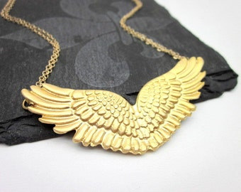 Gold Wing Jewelry, Gold Wing Necklace, Gold Angel Wing Necklace, Guardian Angel Wing Pendant, Large Wing Necklace, Wing Necklace Gift