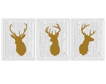 Deer Antlers Print set of 3 brown silhouette on white wood
