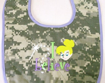 ACU baby bib with tinker bell embroidery I believe trimmed in lavender