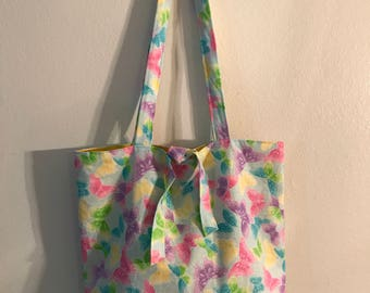 "Sparkle Butterflies w/ ties and w/matching handles cotton fabric handmade 16"" Tote Bag"