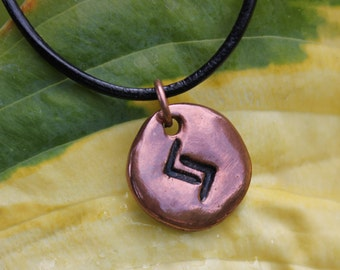 Copper Rune stone necklace- Handmade Elder Futhark charm, Black Leather Cord- personalized runic symbol or initial - Monogram - Peace
