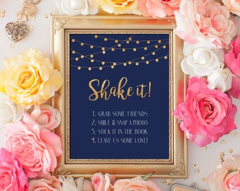 Printable Wedding sign Shake it Photo Guest Book 8x10 Gold Glitter Navy Guest Book Sign DIY Printable Digital INSTANT DOWNLOAD 300dpi