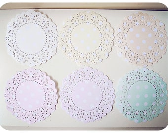 Parisian Lace Doily Pastel white polka dot for Scrap booking or card making / pack