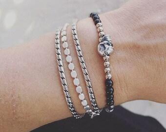 Silver Bracelets For Women, Bracelet sets, Stackable Bracelets, Stacking Bracelets, Layered Bracelets, Skull Bracelets, Gifts For Her