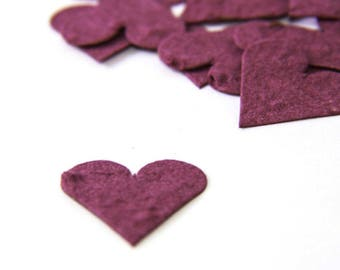 "200 Burgundy Seed Paper Hearts ""Let Love Grow"" Eco Wedding Favor Table Decoration Bridal Shower Favor Thank You Card Invitation Party Favor"
