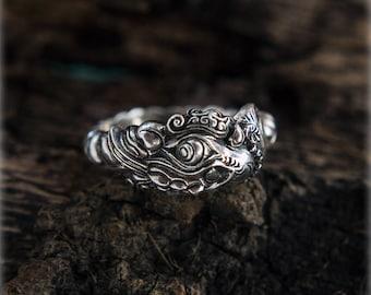 Silver Sacred Ganesh Ring, Endless Ring, Elephant Ring, Infinity Ring, Ouroboros Ring, Biker Ring, Massive Ring, Animal Spiritual Jewelry