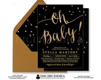 BLACK & GOLD BABY Shower Invitation Oh Baby! Elegant Gold Glitter Calligraphy Boy Girl Gender Neutral Free Shipping or DiY Printable- Stella