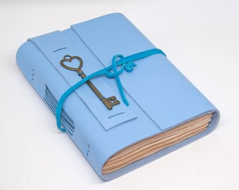 Leather Journal with Tea Stained Paper , Heart Key Charm , Blue Leather Journal , For Her , HandCrafted , Graduation Gift, Bound Book