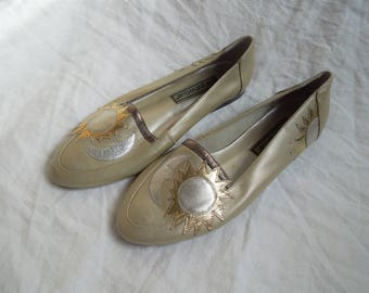 80s Sun and Moon Metallic Silver and Gold Slip On Flats US