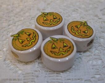 10 Jack o Lantern Pumpkin Halloween Peruvian Ceramic Large Hole Beads 14mm