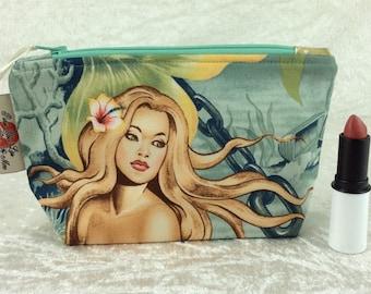 Handmade Zipper Case Zip Pouch fabric bag pencil case Alexander Henry Mermaids Sea Sirens