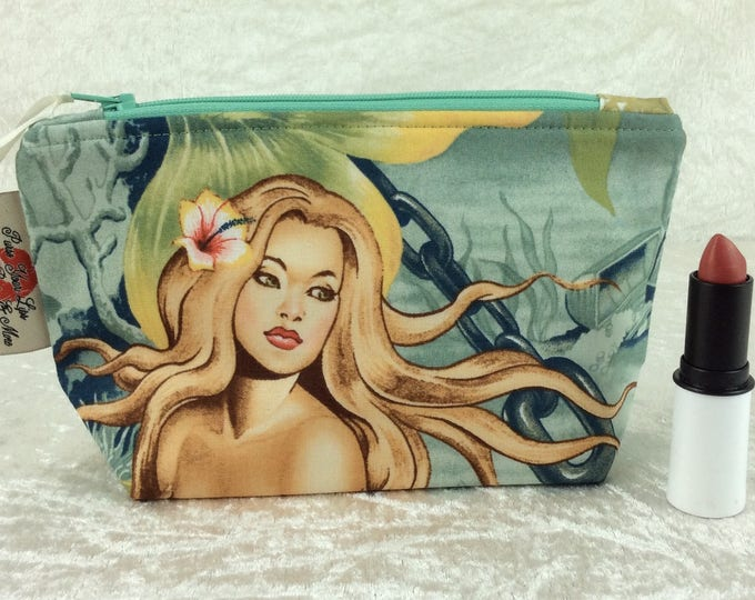 Handmade Zipper Case Zip Pouch fabric bag pencil case purse Alexander Henry Mermaids Sea Sirens