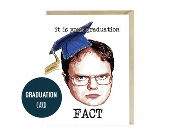 The Office Graduation Card, Dwight Schrute Graduation Gifts, Greeting Cards, High School College Graduation Cards, Dunder Mifflin,  G105