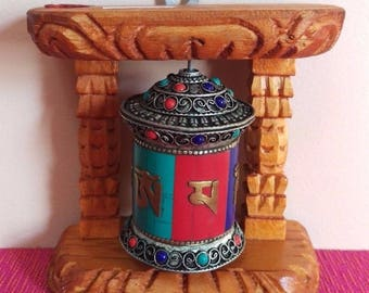Tibetan Buddhist Handcrafted Spinning Prayer Wheel for Wall Hanging ~ Made in Nepal