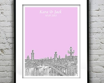 Paris France Wedding Guest Book Guestbook Poster Print -City Skyline