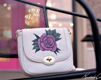 Hand Painted Tattoo Rose Floral Synthetic Leather Vegan Crossbody Handbag Brand New