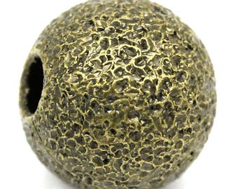 Set of 15 beads effect embossed round irregular antique bronze, 6mm