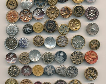 Antique Vintage  Victorian Metal Buttons- 60 Buttons  Lot#4-4     Ca. 1890's to  1930's