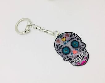 Skull Keychain, key of the muerta, shrink plastic keychain