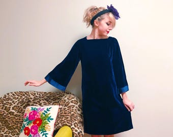 Vintage Blue Velvet Bell Sleeve Dress / Shift Dress / Bow Back Dress / Mini Dress  / 1960s