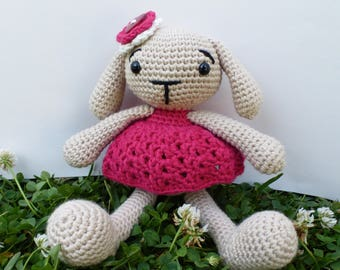 CUSTOM MADE-- Beatrix the Bunny Amigurumi Toy